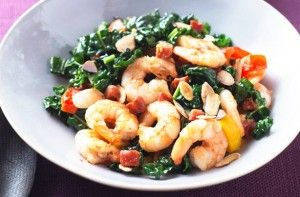 270 calories/17g fat per portion Prawn and chorizo is a lovely combination and the perfect way to jazz up your greens. The simple stir-fry with a balsamic vinegar sauce is given extra crunch with some flaked almonds. Get the recipe: Cavelo, prawn and chorizo stir-fry