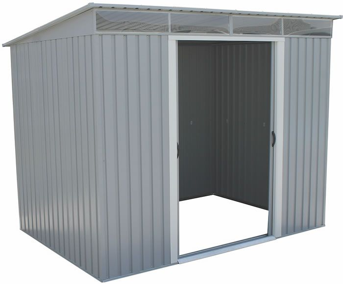 Duramax 8x6 Pent Roof Metal Shed Kit W Skylights 50371 Steel Storage Sheds Metal Storage Sheds Shed Storage