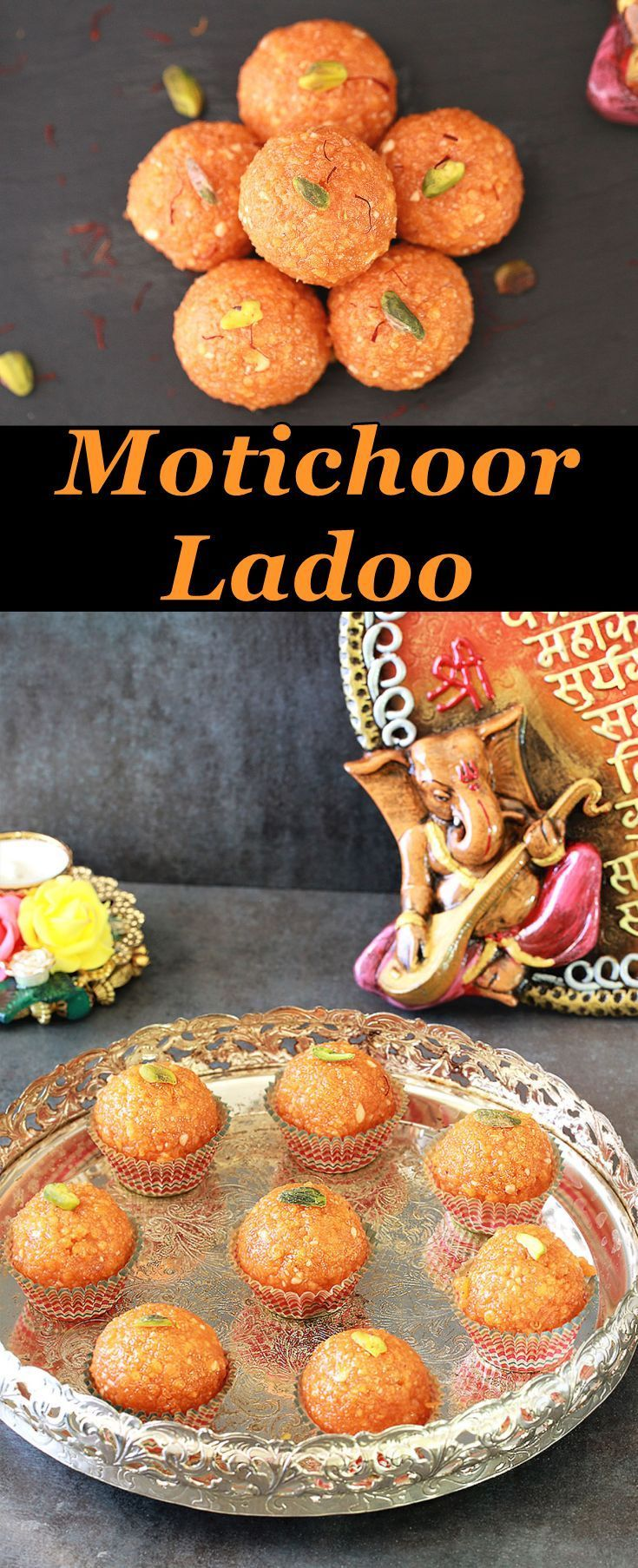 """Motichoor Ladoo is an Indian sweet, slightly differently from boondi ladoo, because this is with tiny boondi.  What does Moti mean?? In Hindi the word """"Moti"""" means pearl and """"choor"""" means to crush. Motichoor means Crumbled pearls."""