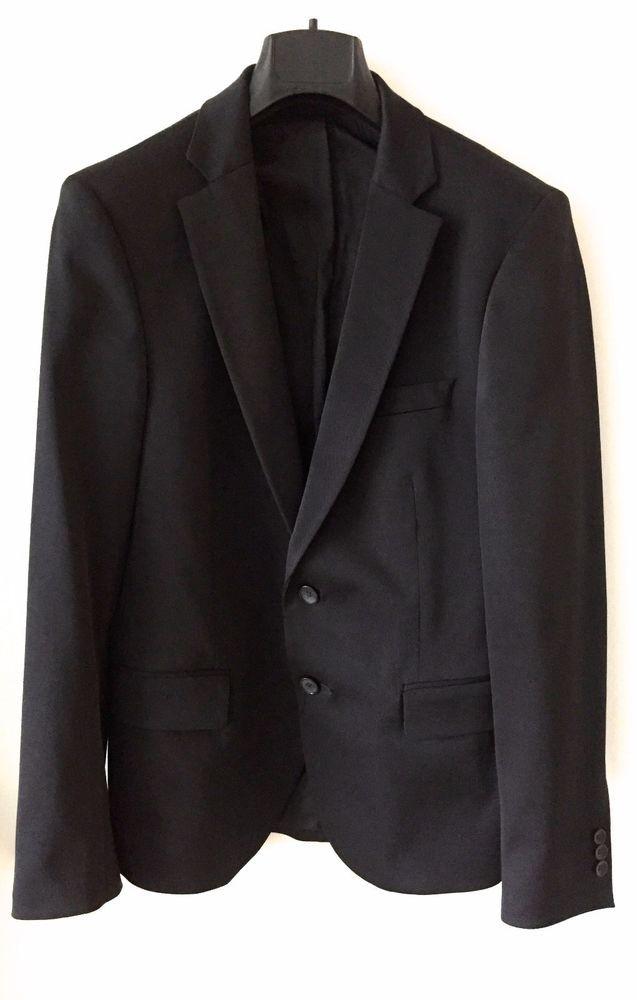 4322c758 NEW ZARA black satin 2 buttons blazer sport jacket SLIM FIT size 36R #Zara  #TwoButton