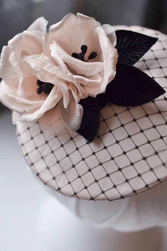 Hair Fascinator Cocktail Hat Floral Headpiece Black &