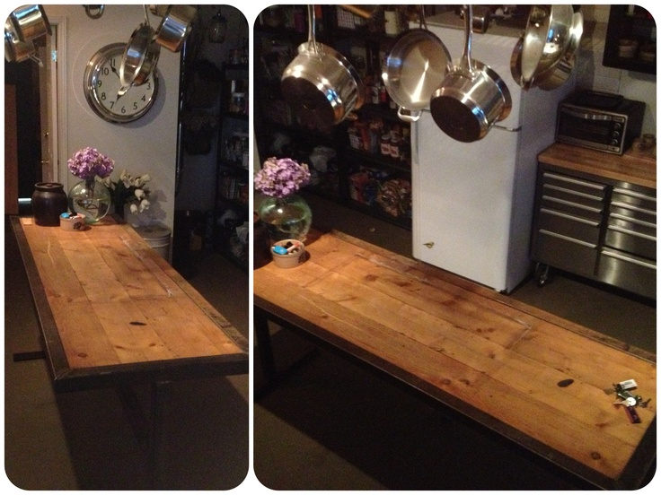New iron and wood table
