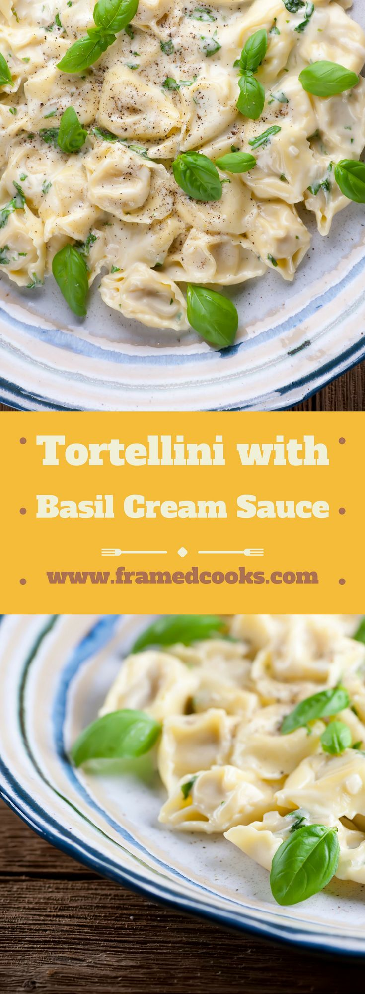 Tortellini meets alfredo sauce meets basil in this simple, elegant, creamy recipe for tortellini with basil cream sauce.  A perfect summer pasta supper!