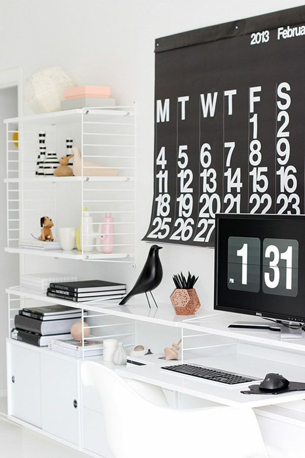 Style time well spent. An oversized digital clock and calendar adds visual impact and keeps you on track. #workmastered #whiteandblack