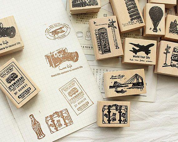 Travel Stamp Set Vintage Wooden Rubber Stamps Diary Stamp Etsy Travel Stamp Stamp Set Set Vintage