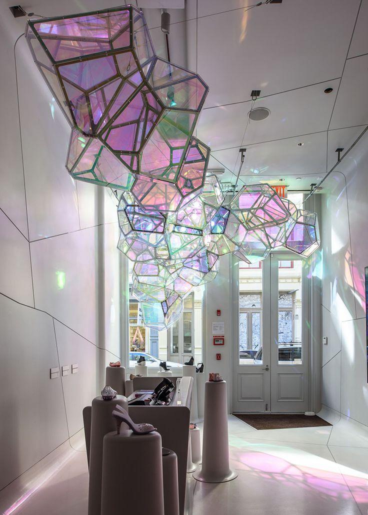 SOFTlab crystallized installation melissa shoes NYC designboom
