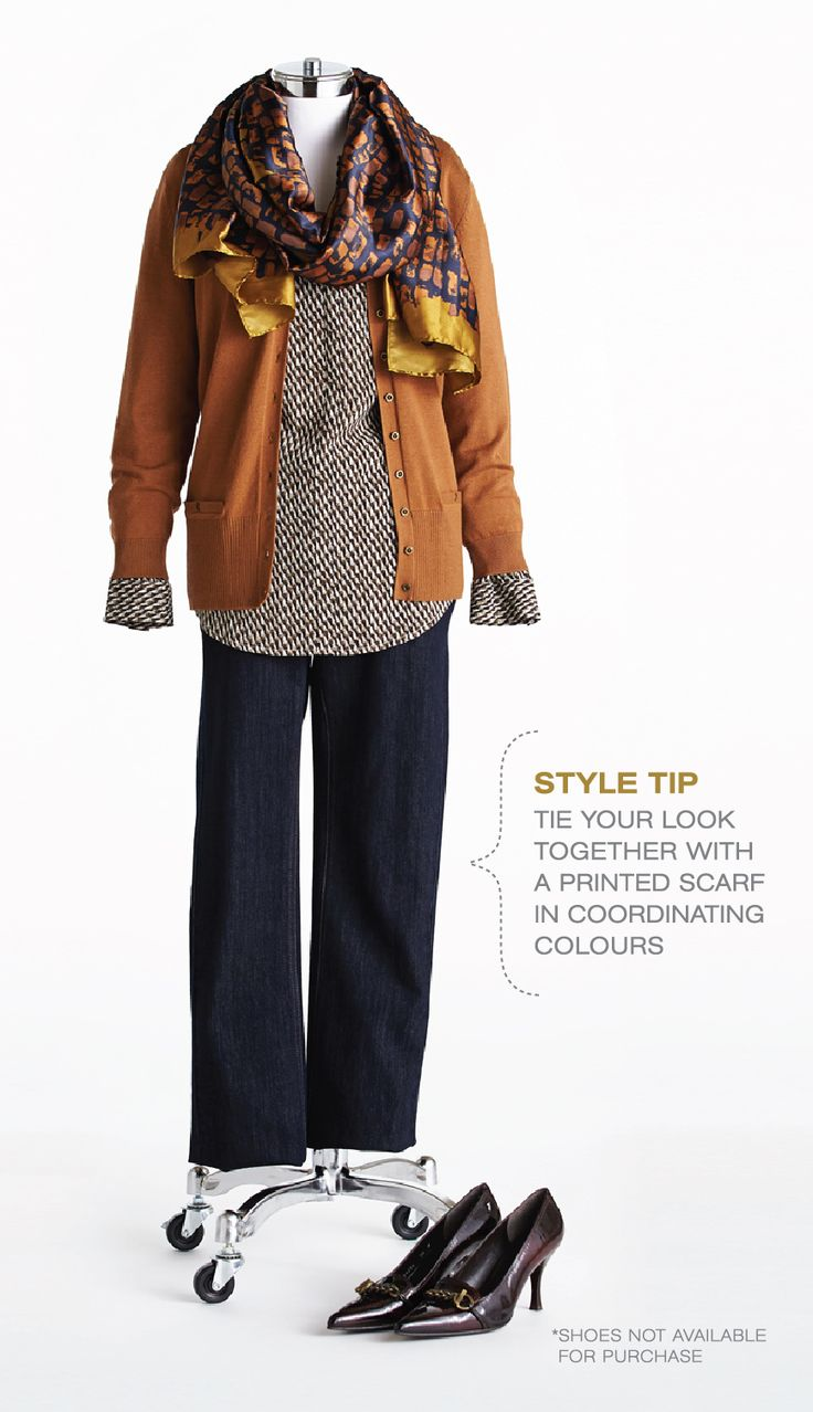 "Cleo Fall Style with Lynn Spence: Lynn's Style Tip ""Tie your look together with a printed scarf in coordinating colours"""