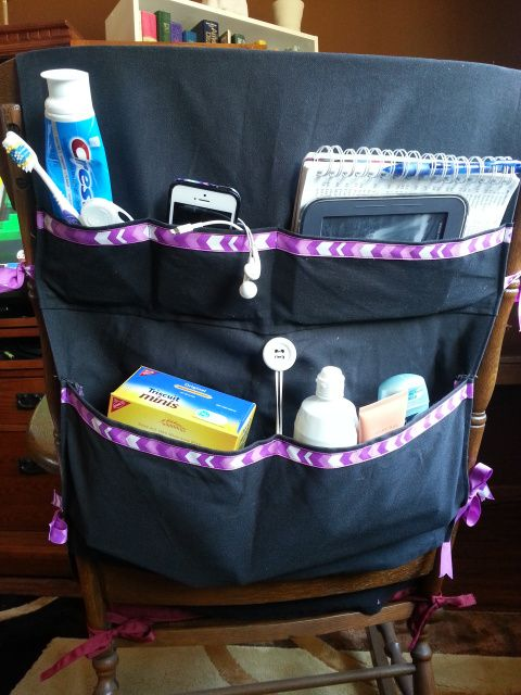 Bus Pocket for her drum corp trip. Super helpful for organizing your bus seat. www.buspocket.com there are even a place for triscuts for savannah! Lol