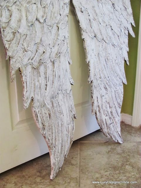 Large Hand Made Textured Whitewashed Feathered Angel Wings Wall Art