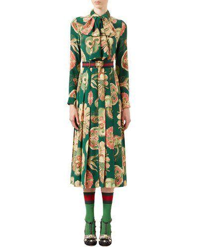 W0E34 Gucci Sea Life Printed Crepe Dress, Bright Green