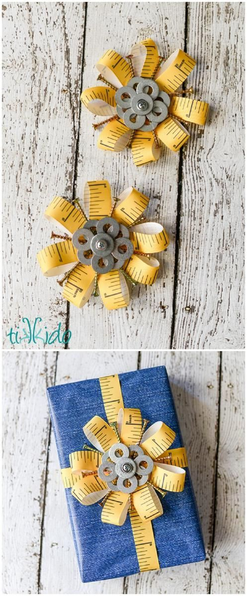Creative father's day gift wrapping tutorial using screws, washers, and more from the hardware store!