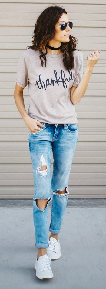 Chokers + must-have for fall and winter + Simplistic yet chic + graphic print tee + jeans + pair of white sneakers + Christine Andrew.  Outfit: ILY Couture.