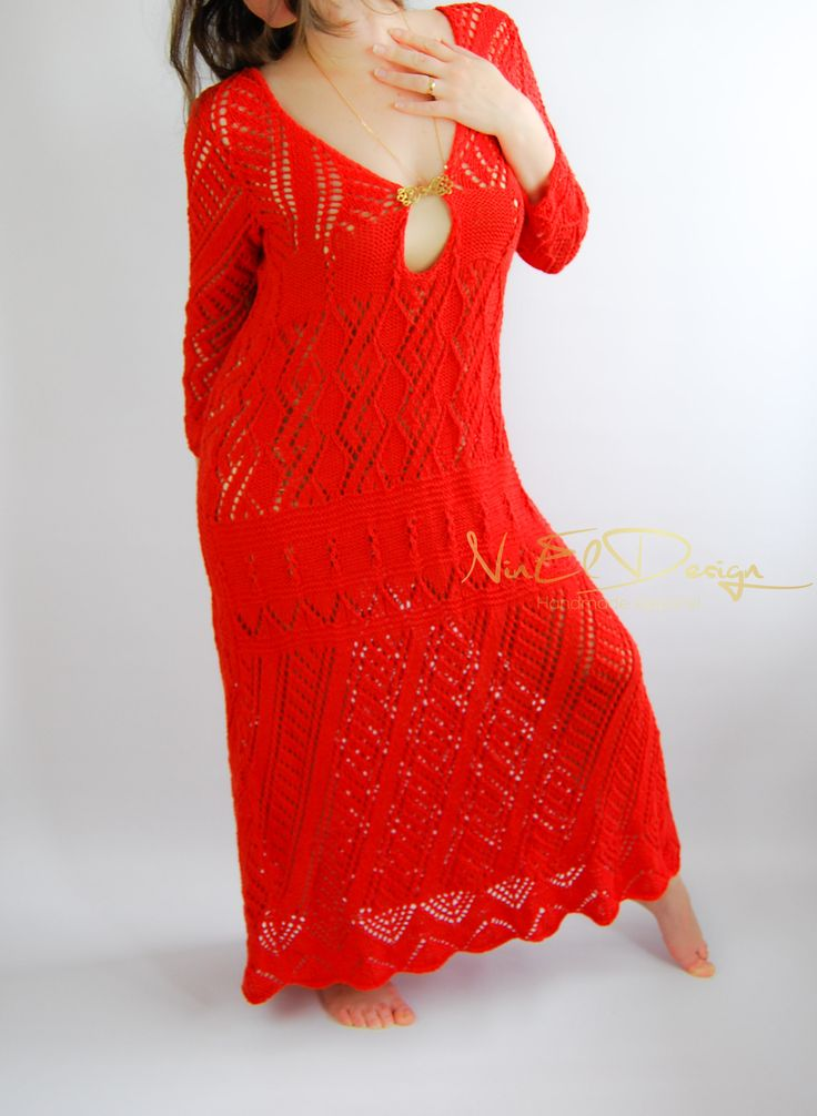 UNIQUE Wedding Maxi dress in red. Long sleeve wedding dress. Crochet maxi dress. Beach wedding dress. Crochet long dress.Alternative wedding by NinElDesign on Etsy