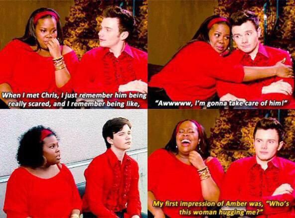 Amber Riley and Chris Colfer lol