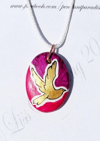Gorgeous handpainted pendant, made by me. Will be shipped with chord and adjustable knots. Paint is protected with clear coat paint for resistance. Like www.facebook.com/pendantparadise on Facebook for updates on my work and custom requests .