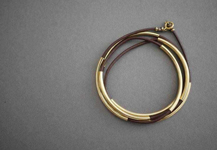 Leather wrap gold tube bracelet
