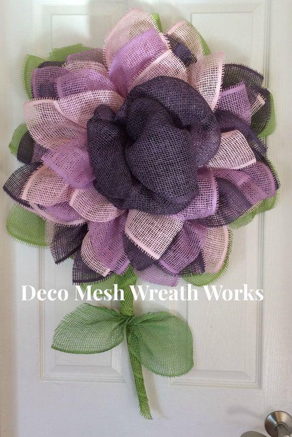 Paper Mesh Flower Wreath Deco Mesh Flower by DecoMeshWreathWorks