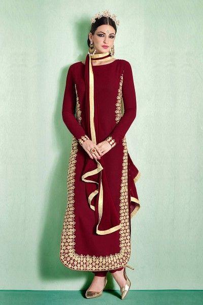 MAROON & BEIGE EMBROIDERED ONLINE GEORGETTE DRESSES #salwarkameez #dresses #shopping #clothing