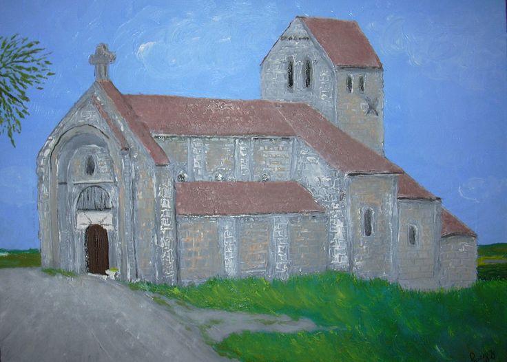 Eglise de Châtel de Neuvre Huile sur toile