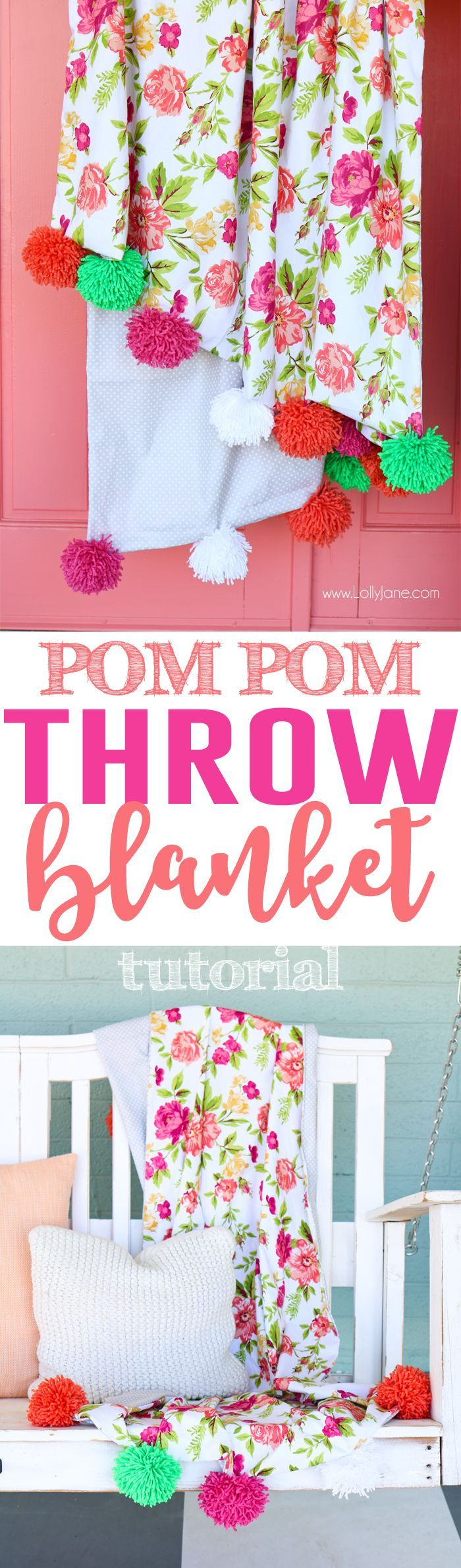 DIY Pom Pom Throw Blanket, so easy and CUTE! Great tutorial for sewers of any le...