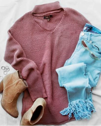 Bonfire Babe Sweater Salmon