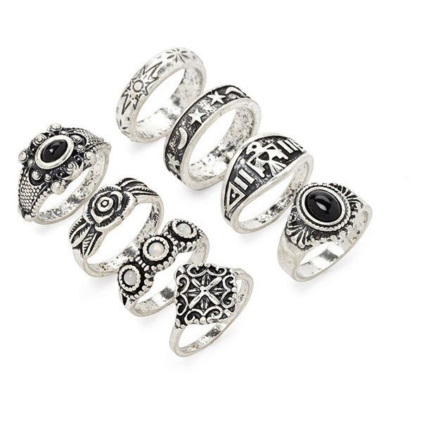 Forever 21 Faux Stone Ring Set (€6,73) ❤ liked on Polyvore featuring jewelry, rings, fake rings, set rings, forever 21, stone jewelry and star jewelry