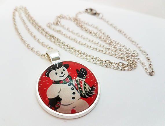 Mejores 11 imgenes de christmas jewelry en pinterest mueco de snowman necklace glass cabochon jewelry christmas pendant aloadofball Images