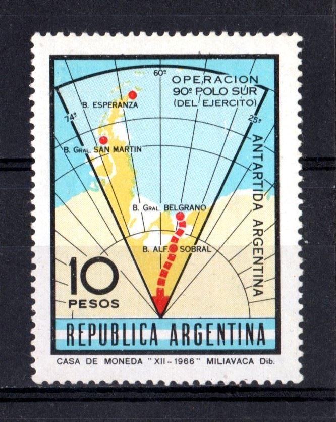 """""""Operacion 90o Polo Sur (del Ejercito). 10 Pesos.  Dib. Miliavaca. Casa de la Moneda, 1966.   -lbk-"""