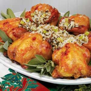 "Wild Rice Stuffed Cornish Hens Recipe -My mom prepares this impressive-looking entree for the holidays and for other ""company's coming"" occasions. The savory rice stuffing goes wonderfully with the moist golden hens and sweet apricot glaze. She is often asked for the recipe. -Becky Brunette, Minneapolis, Minnesota"