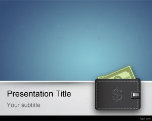 Free business money PowerPoint template with blue background