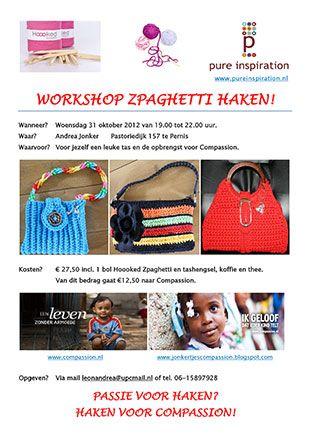 Workshop Zpaghetti haken in Pernis. De opbrengst is voor Compassion. Dus haak een tas en help een kind!