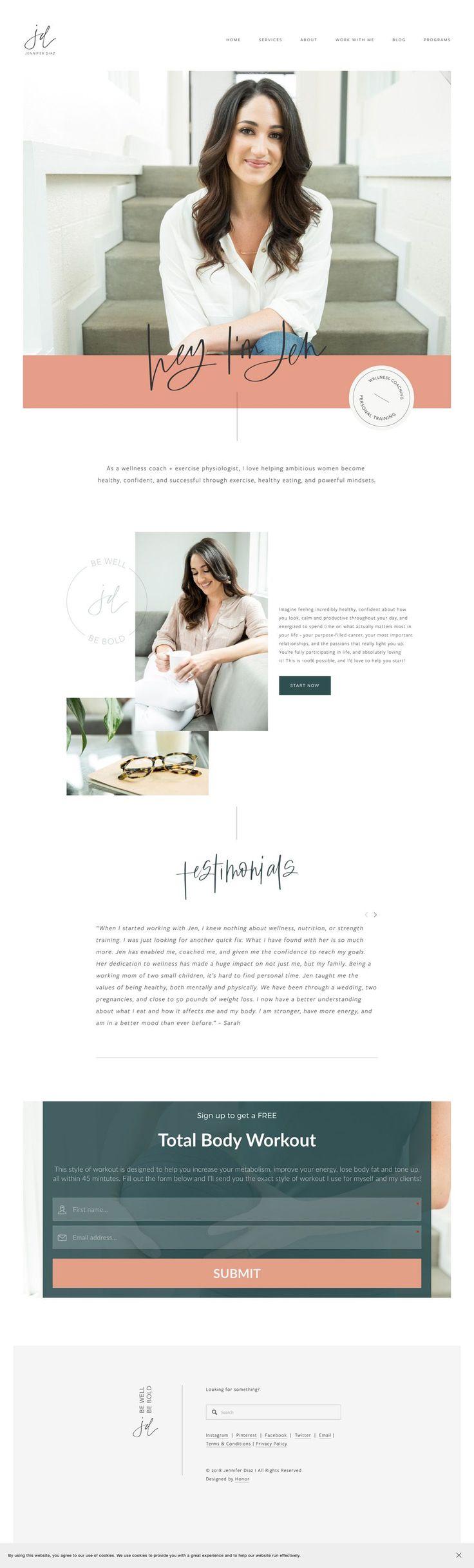 Health wellness and fitness coach website. Squarespace