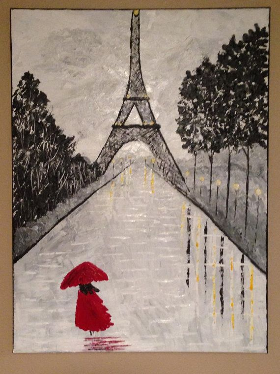 rainy day in Paris Eiffel tower paintingParis by Creationsbyconni