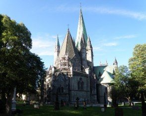 The pilgrimage of St Olaf's Way ends in the Nidaros Cathedral in Trondheim.