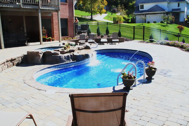 Swimming pool waterfall pond spillover waterfall pa for Pool design mcmurray pa