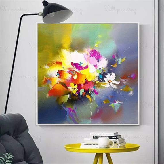 Peinture Abstraite Originale De Fleur Acrylique Sur Des Images D