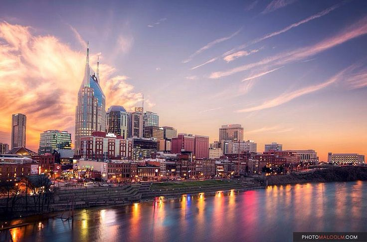 Nashville Skyline at sunset, taken on St Patricks Day 2015#nashville #tennessee #skyline #cityscape #susnet