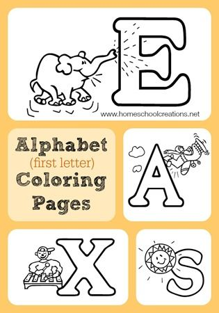 Alphabet coloring pages to review letter sounds and words that begin with each letter of the alphabet.