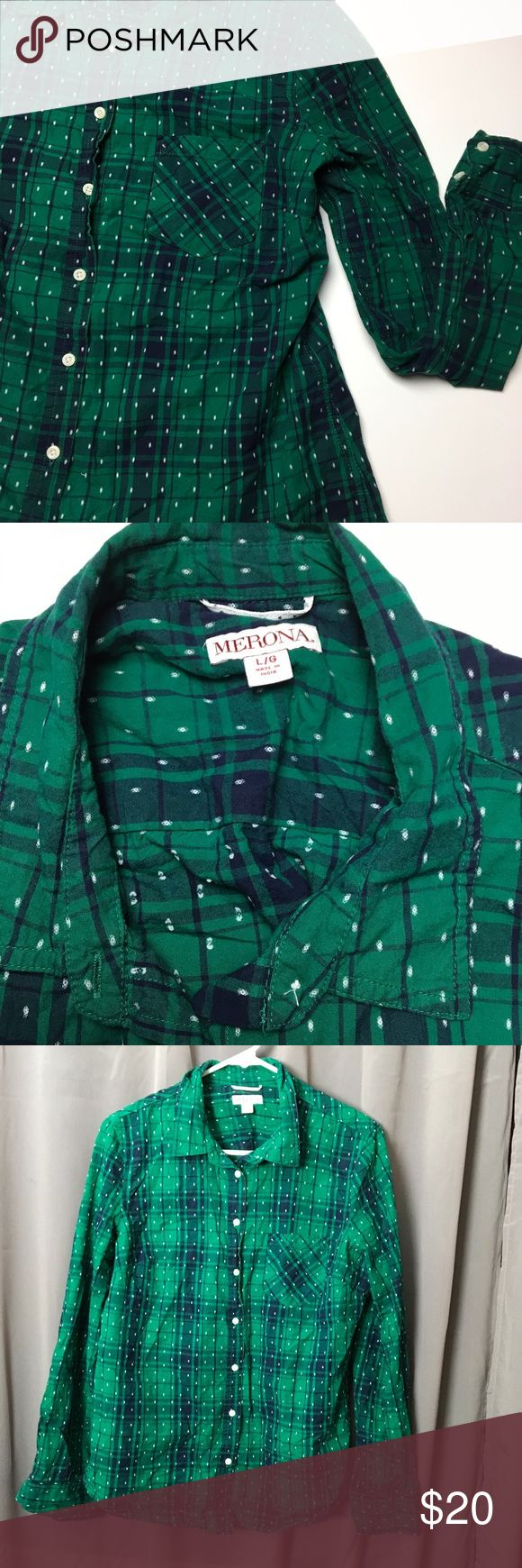 Green Plaid Button Down Shirt 🐢 In great condition. I'll steam it before packaging. Really cute and flattering. Bundle for a discount. 😍 Merona Tops Button Down Shirts