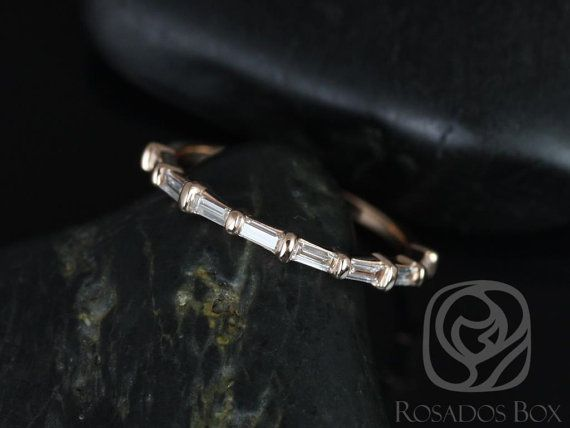 Baguettella 14kt Rose Gold Thin Horizontal Baguette Diamond HALFWAY Eternity Band (Other Metals Available)