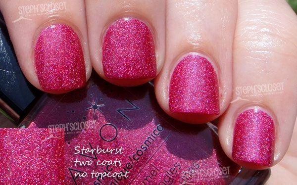 "Hot pink holographic nails.  Avon's ""Starburst"". www.youravon.com/mkeller0001"