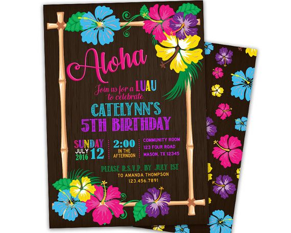 Get the bright colorful Aloha luau birthday invitation for your daughters tropical pool party! This beautiful Hawaii party invitation can be