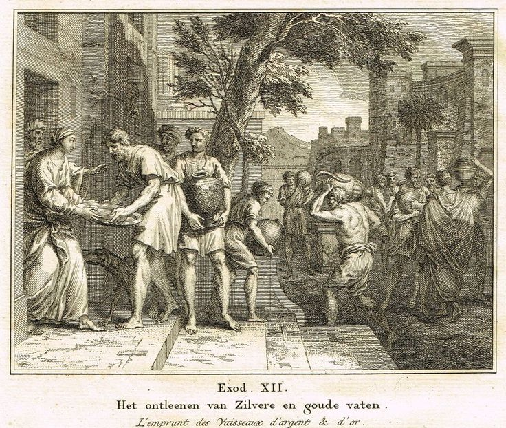 """Antique Bible Print by Fokke - """"SILVER & GOLD VESSELS"""" - Exodus 12 - Copper Engraving - 1748"""