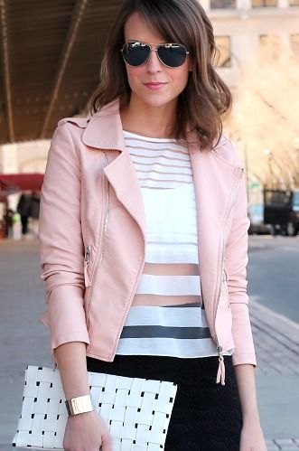 Sheer stripes. Pastel pink. Leather jackets. We love this edgy look.