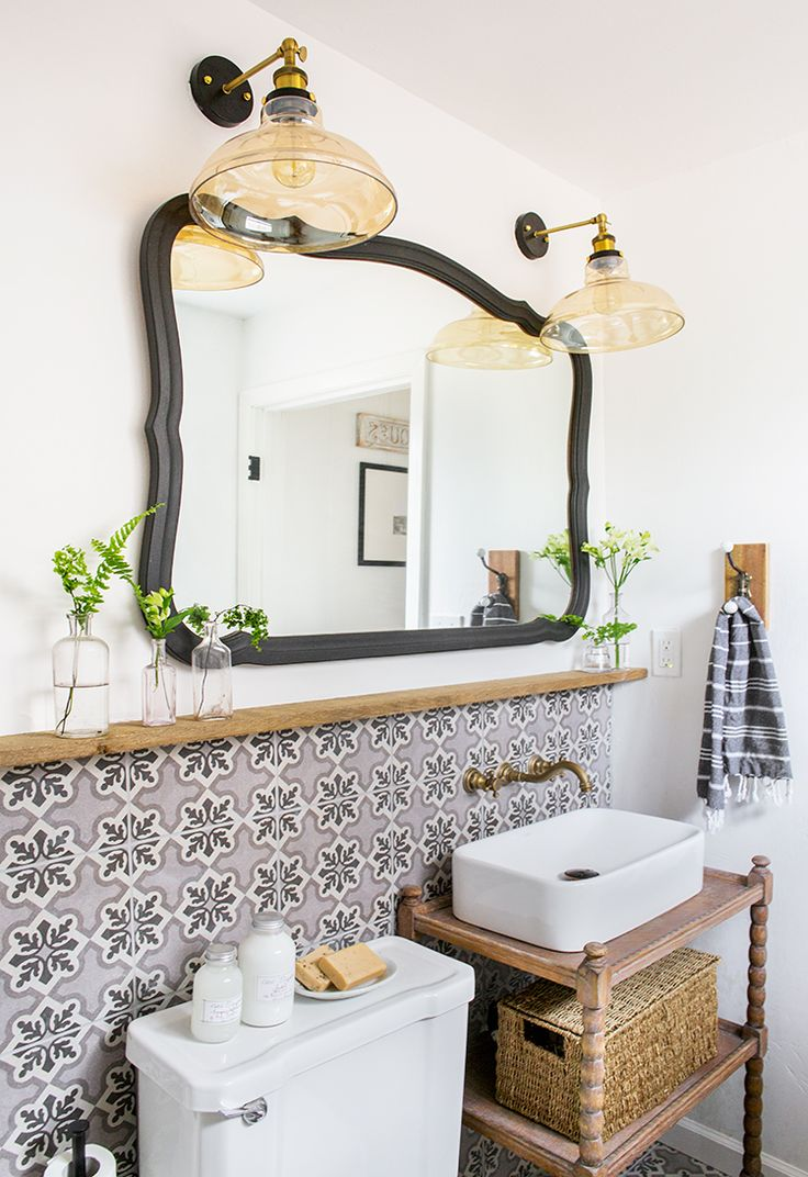 Downstairs Bathroom Cottage House Flip Reveal Toalettbord Design Och Sista Tentorna