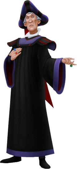 Judge Claude Frollo is the main antagonist of Disney's 1996 animated film The Hunchback of Notre Dame, often considered to be one of the darkest and most evil Disney villains. Frollo is a deeply religious man who tries to convince the people of Paris that his evil deeds are justified because they are God's will, though he is in reality a prejudiced, spiteful, vicious, and corrupt official who uses his place in power to meet his own extreme ends