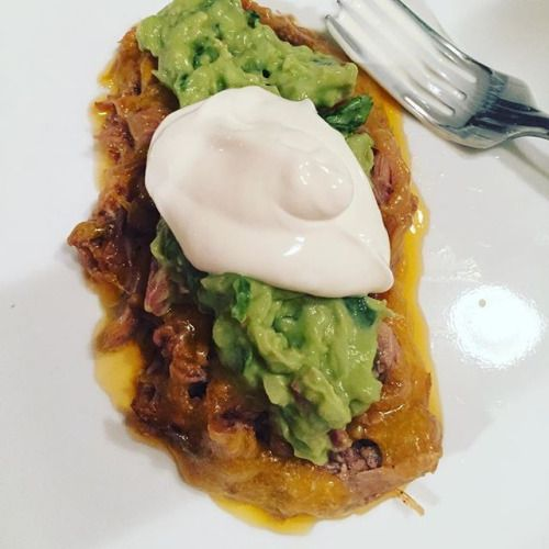 When the fam has enchiladas and you have the insides and cover it in guava and sour cream.  Thats shredded pork shoulder that cooked in butter all day in the slow cooker. #ketogenic #keto #lowcarb #lowcarbdiet #atkins #eatfat #ketoforlife #foodporn #healthyfood #yummy #dinner #cook #eatathome #stayathomemom #momsthatcook #guacamole #shredded #pork #foodisfuel #food #goodfood - Inspirational and Motivational Ketogenic Diet Pins - Eat Keto Get Into Nutritional Ketosis - Discover LCHF to…