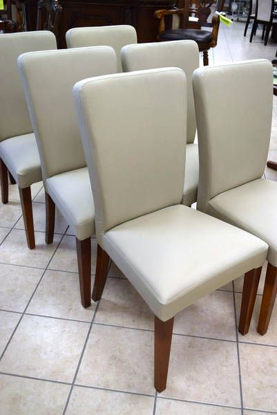 Pottery Barn Megan Discontinued Set Of 6 Neutral Soft Green Upholstered Parsons Dining Chairs With Chestnut Stained Legs 20 W X D 38 H 18