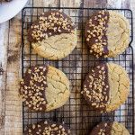 Giant bakery-style peanut butter cookies dipped in milk chocolate and sprinkled toffee bits are likely to be the best peanut butter cookie you've ever tried