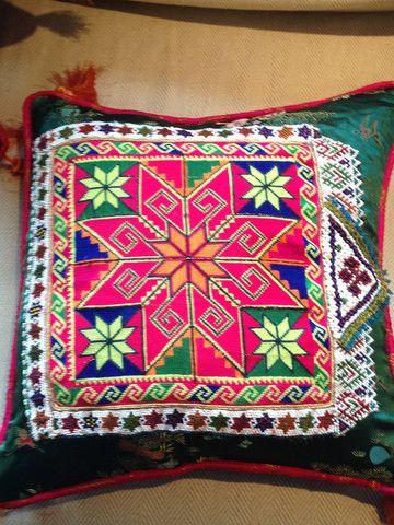 Green Starred Afghan Cushion – Reloved #afghan #weddingdresscushions #handmade